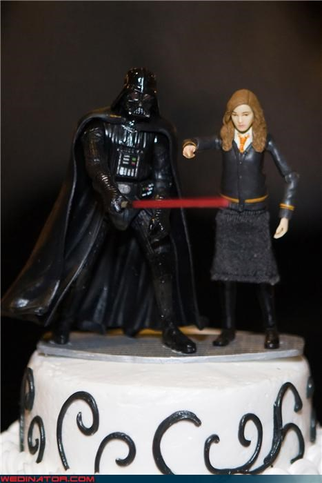 bride,cake toppers,darth vader,darth vader cake topper,Dreamcake,funny cake toppers,funny wedding photos,groom,hermione,hermione cake topper,nerdy cake toppers,were-in-love,Wedding Themes,wtf