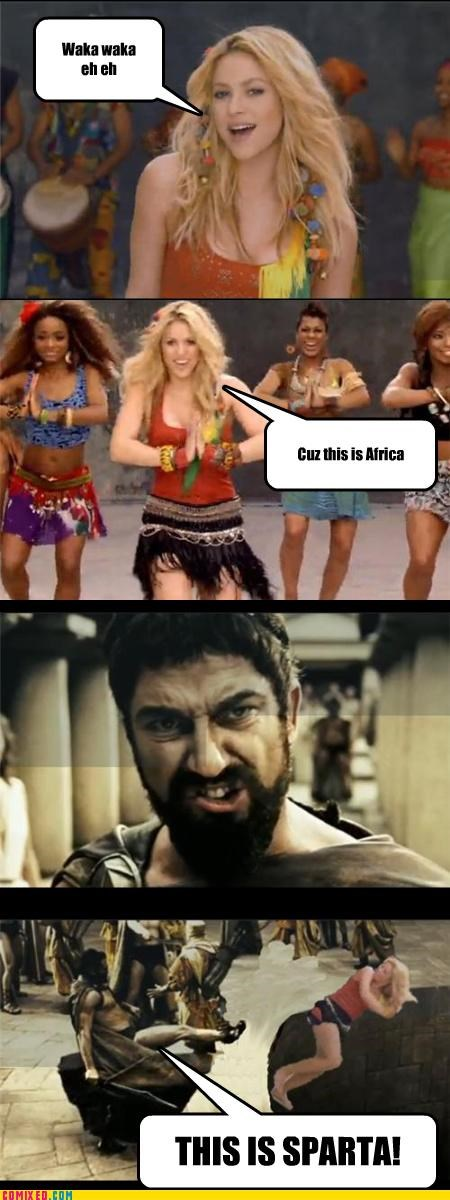 300 comedy From the Movies kicking leonidas shakira sparta violence against women - 3995101440