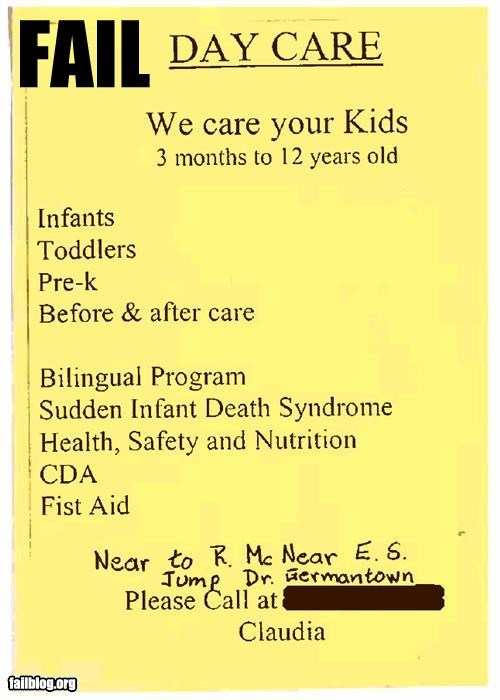 ads,children,day care,failboat,g rated,SIDs,sign