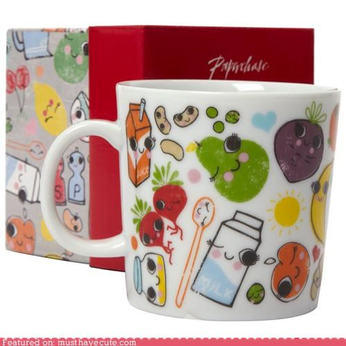 ceramic coffee cute-kawaii-stuff faces Faces On Stuff Kitchen Gadget mug pottery print tea - 3995294976