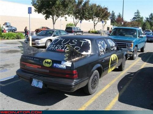 batman wedding getaway batmobile decorated wedding getaway car funny wedding photos getaway car just married batman style surprise technical difficulties Wedding Themes wtf - 3995378688