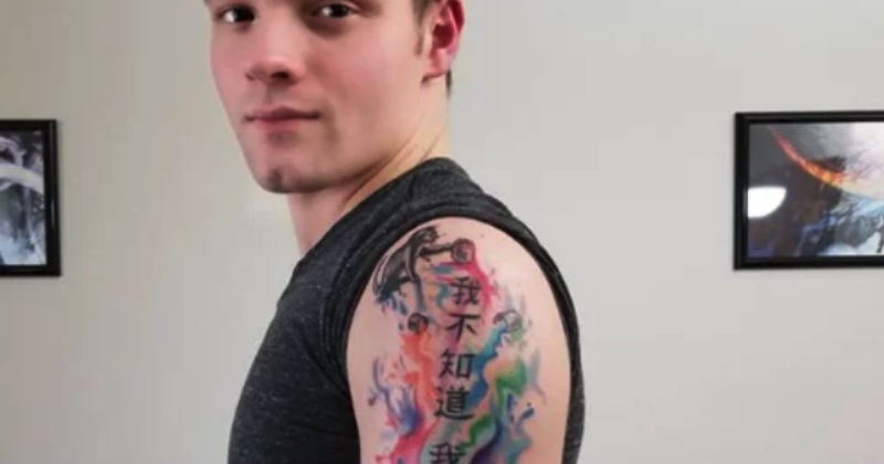 Guy's Chinese tattoo translates to the most dad joke possible.