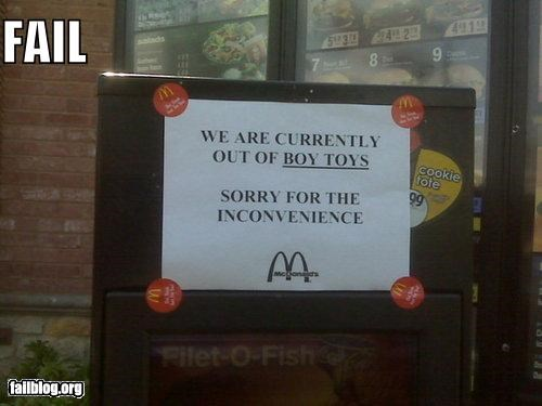 boys drive thru failboat innuendo McDonald's sign toys - 3995971328