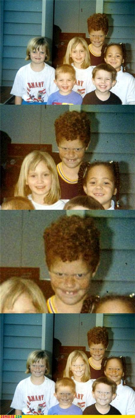 face replace,face swap,ginger,kids,monster,photobomb,the internets