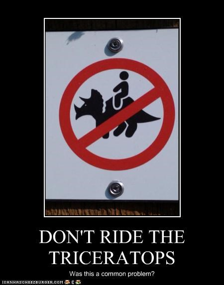 DON'T RIDE THE TRICERATOPS Was this a common problem?