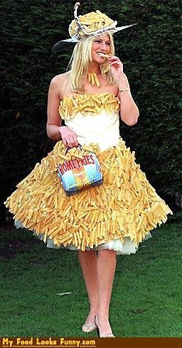 costume,dress,fries,greasy,queen,snacks