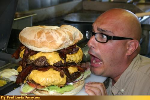 attack bacon bald burger burgers and sandwiches cheese cheeseburger giant head huge meat restaurant - 3998321664