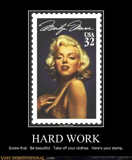 stamp,marilyn monroe,funny,hard work