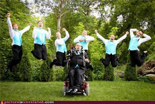 glamour shots,group shot,jumping,wheelchair,wtf