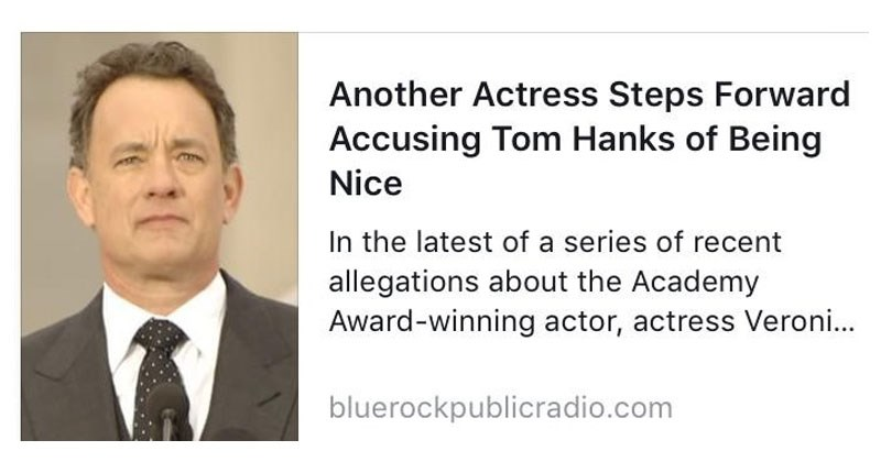 Nice stories about celebrities in the wake of sexual assault allegations, Kevin Spacey, Louis CK, Charlie Sheen, Tom Hanks.