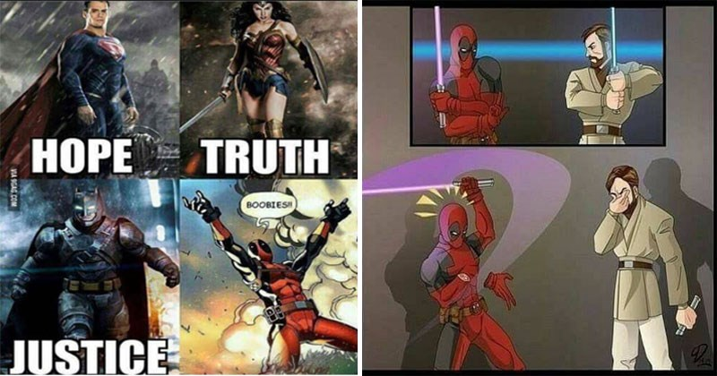Funny memes about Deadpool to celebrate the upcoming film, Deadpool 2.