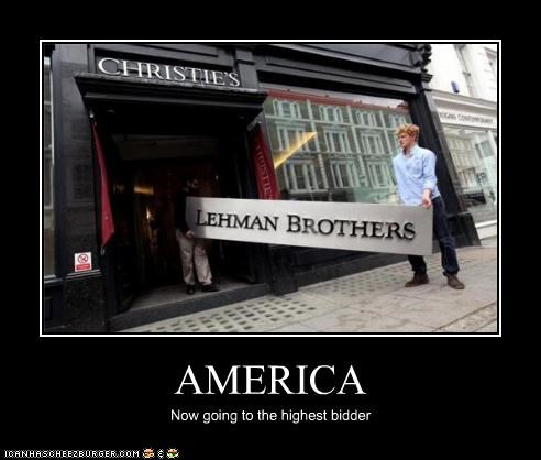 america auction demotivational funny Lehman Brothers lolz