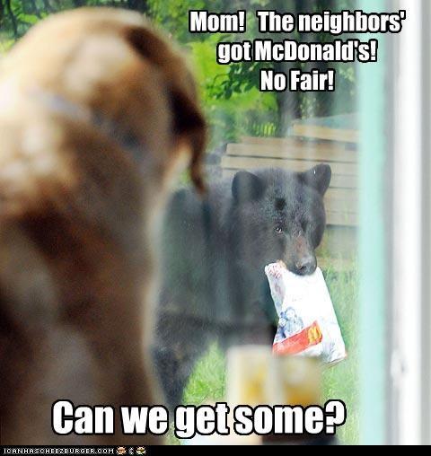 Mom! The neighbors' got McDonald's! No Fair! Can we get some?