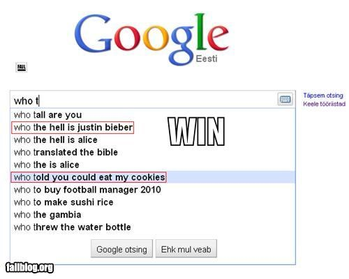 Autocomplete Me,cookies,double win,failboat,justin bieber,win