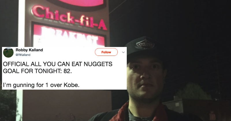 Guy live-tweets himself tackling the chick-fil-a nuggets challenge, and the results are ridiculous.
