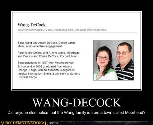 WANG-DECOCK Did anyone else notice that the Wang family is from a town called Moorhead?