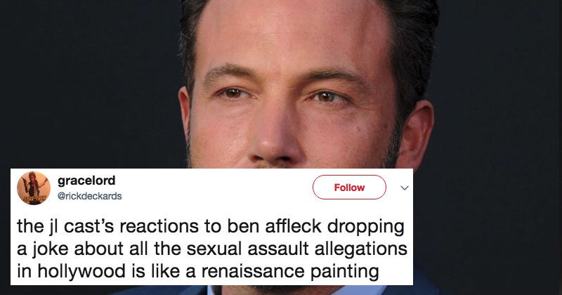 Ben Affleck cracks a joke about sexual assault during a Justice League interview and horrible cringe ensues.