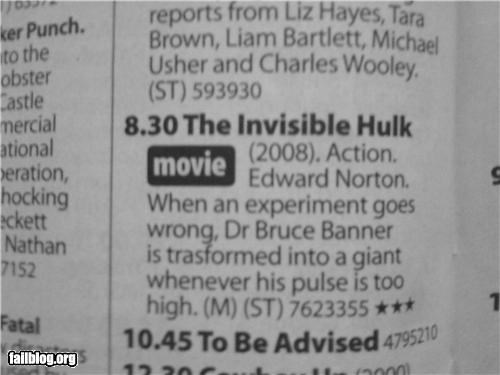 Title Fail The Not So Incredible HULK!!!!