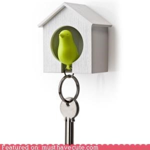 accessory car cute-kawaii-stuff figurine house Keychain keyring organized sparrow whistle - 4006885376