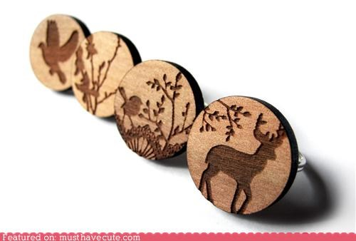 accessory animal Jewelry laser cut pattern ring silhouette wood - 4006939904