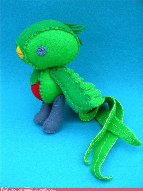 bird colorful felt figurine quetzal resplendent quetzal soft toys - 4006947584