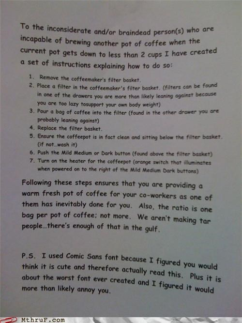 coffee comic sans notes passive aggressive - 4008523264
