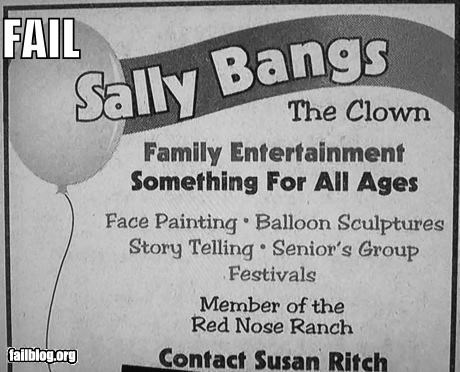ads clowns failboat innuendo names newspapers - 4008674048