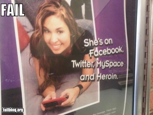 advertisement,drugs,facebook,failboat,g rated,mobile phones,myspace,poster,social networks