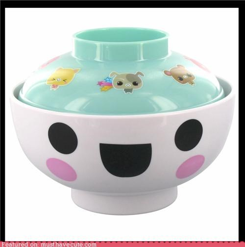 bowl cute-kawaii-stuff dishes face happy Kitchen Gadget ramen soup