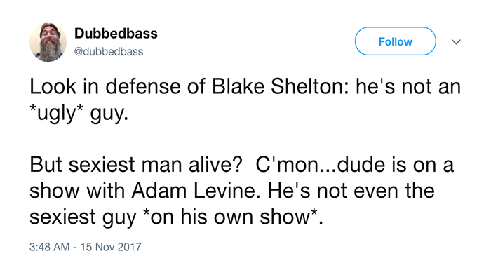 a very funny list of people hating on blake shelton