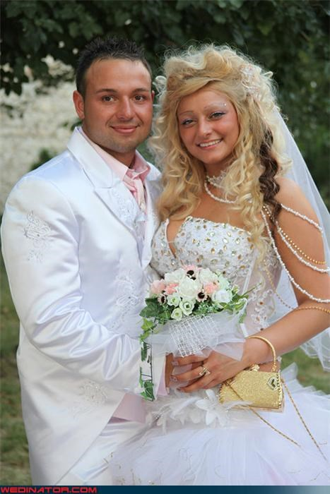bad wedding hair bride fashion is my passion funny wedding photos groom hair extensions Maxim hair myspace perfect couple satin tacky were-in-love White Tuxedo wtf