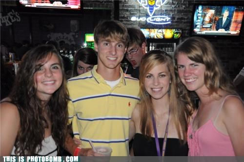 babes,bar,bud light,drinking,glasses,photobomb,polo shirt