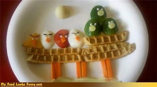 angry birds,birds,food art,fruits-veggies,game,pig,snacks,veggies