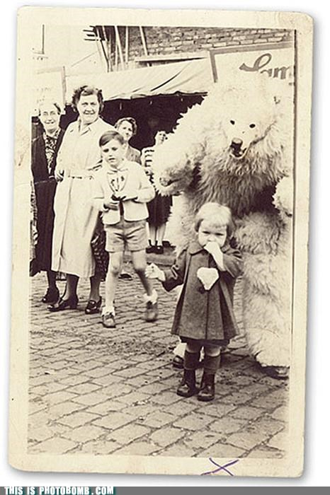 bear,black and white,Impending Doom,kids,monster,photobomb,vintage