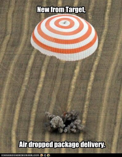 New from Target, Air dropped package delivery.