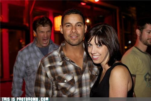 anger management babes clothes nathan fillion photobomb rage stealing - 4012598016