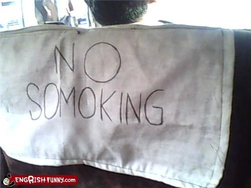 bus,no smoking,sign,spelling