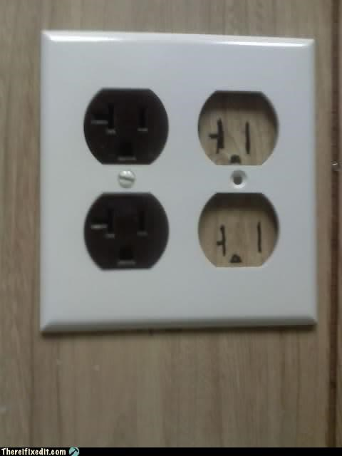 electricity,fake out,Kludge,outlet,sharpie