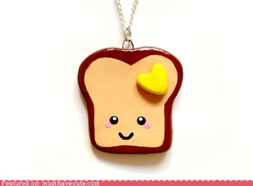 accessory butter chain cute-kawaii-stuff face Jewelry kawaii necklace Painted polymer clay smile Teeny toast - 4014860544