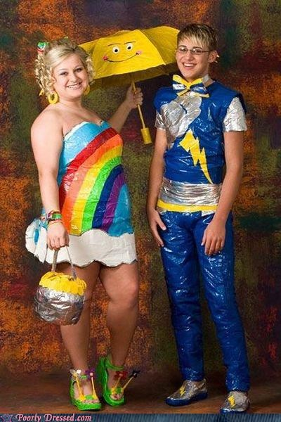 couple,dress,duct tape,prom,tuxedo