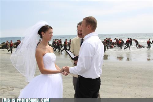 awesome,beach,invasion,navy,photobomb,special moment,usa,wedding