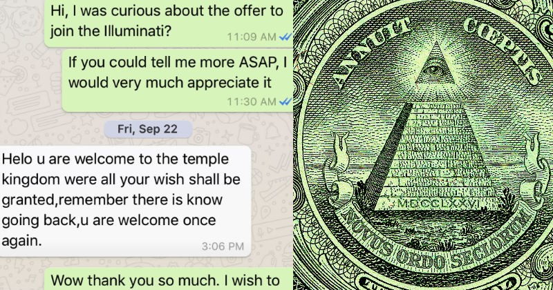 Nigerian scammer gets trolled by guy who pretends to be a part of the Illuminati.