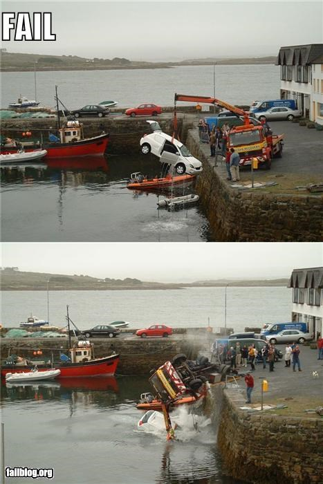 cars,cranes,failboat,g rated,towing,water