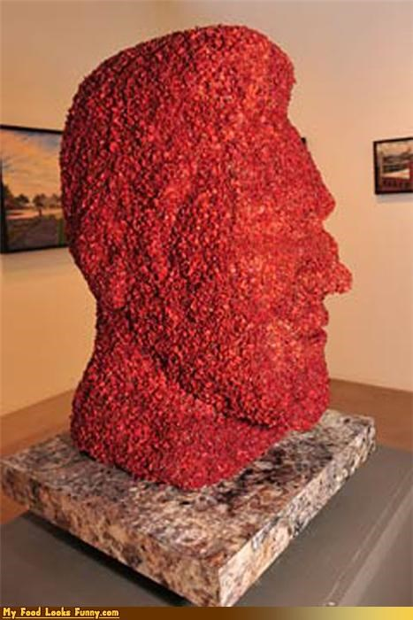 art,bacon,celeb,face,kevin bacon,meat,museum,statue