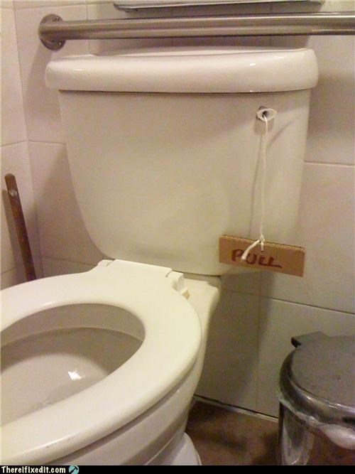 bathroom,flush,homemade,Kludge,sign,toilet
