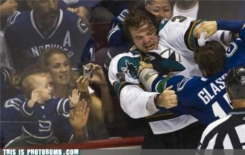 awesome,Babies,hockey,lol,photobomb,sports,vancouver canucks,violence