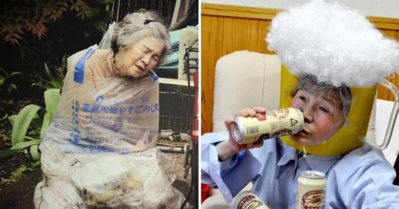 Funny self-portraits from Japanese grandmother who learned photography, 89 years old, learned in her 70s.