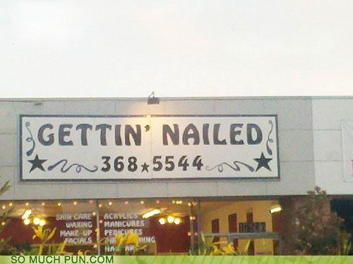 getting innuendo manicure nailed nails pedicure salon sign - 4015531008