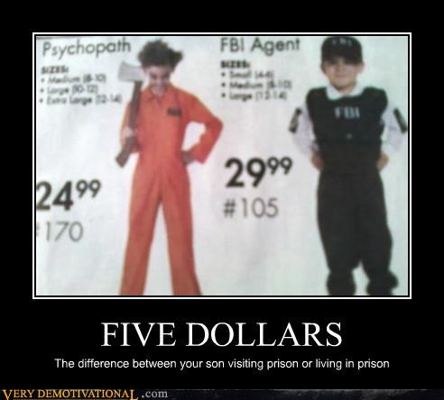 FIVE DOLLARS The difference between your son visiting prison or living in prison