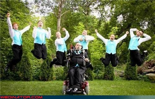 disabled groom picture,excited,fashion is my passion,funny wedding photos,groom,Groomsmen,handicapped groom,jumping groomsmen,matching groomsmen,matching vests,sweet wedding picture,technical difficulties,wedding party